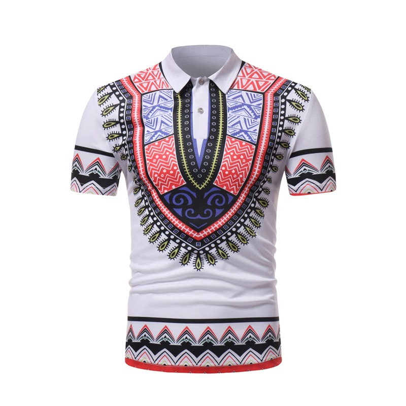 White Splash Ink Print   Polo   Shirt Men 2019 Fashion African Dashiki Slim Short Sleeve   Polos   Para Hombre Casual Business Man   Polos