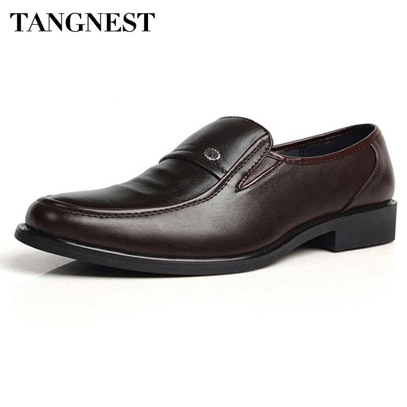 68b790ab2 Tangnest بو حذاء رجالي جلد 2017 الايطالية نمط اللباس أحذية الأعمال الزفاف  زلة على الشقق ، حجم 38-44 XMP286
