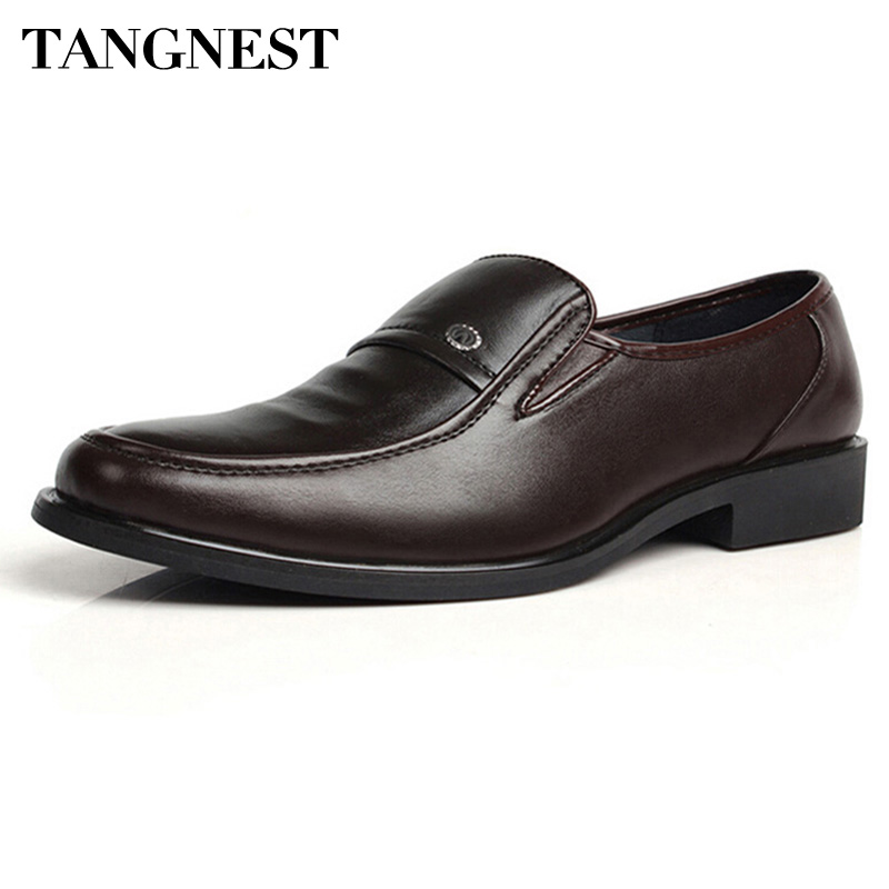 Tangnest PU Leather Men Shoes 2017 Italian Style Dress Shoes For Wedding Business Slip On Flats,Size 38-44 XMP286 vintage genuine leather shoes men slip on brogues dress shoes size 38 43 chaussure homme quality wedding shoes for men flats f31