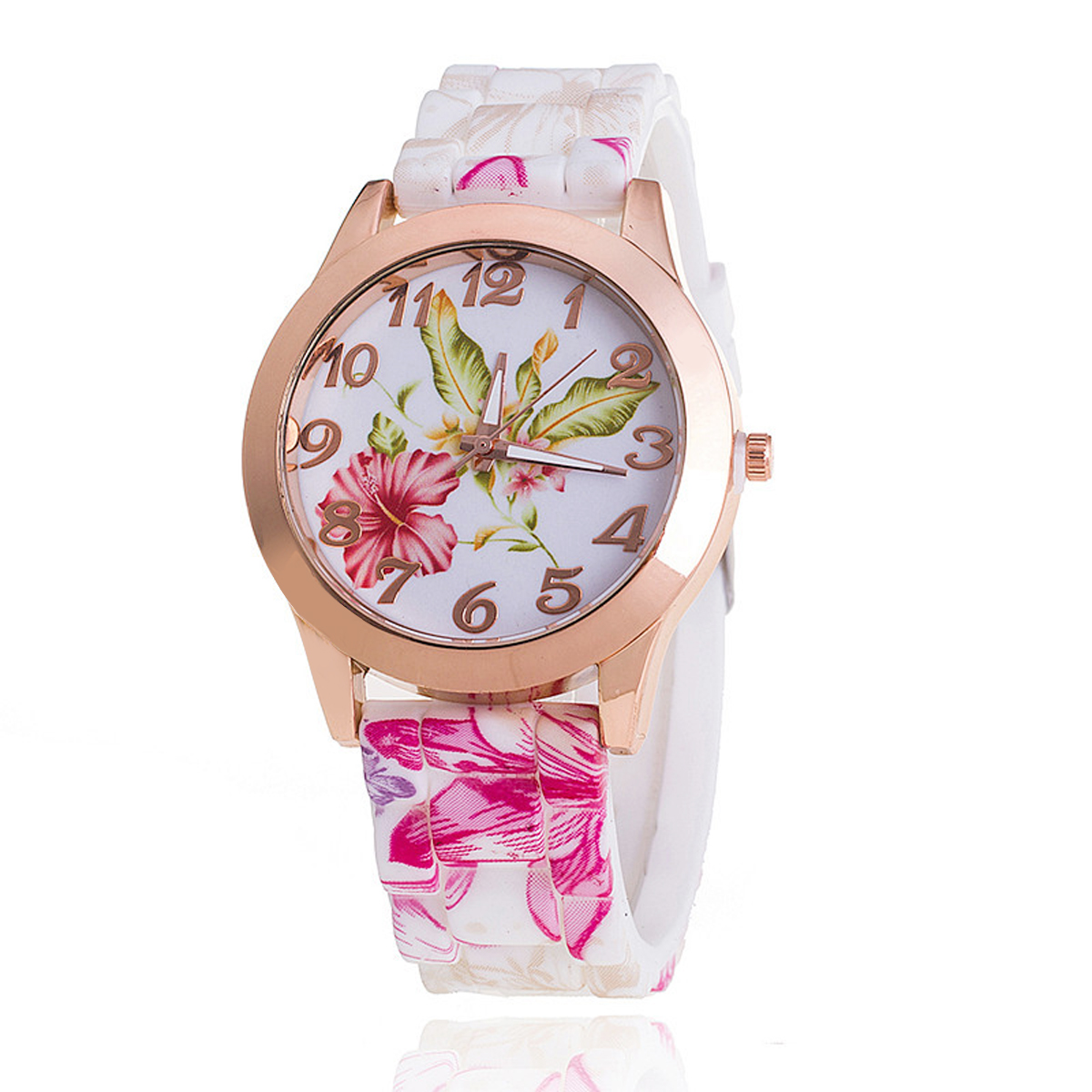 Fashion Colorful Women Girl Casual Dress Watch Silicone Rose Flower Print Jelly Quartz WristWatches Clock reloj mujer Wholesales