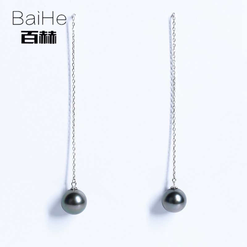 BAIHE Solid 14K White Gold 9-10mm H/SI 100% Genuine Black Pearl Engagement Trendy Fine Jewelry Elegant Unique Gift Stud Earrings black white gold 100