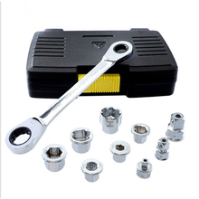 6-19mm Ratchets Socket Wrench Set Multifunction Double End Hexagon Spanner Adapter Car Repair Tools with tool Box