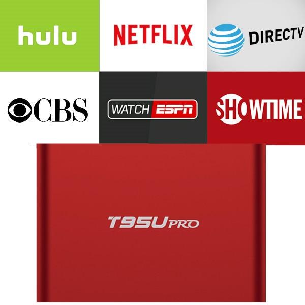 T95U PRO Android IPTV Box 6.0 with 1 year Netflix/HULU/Directv/CBS account warranty work in Set top box Smarttv smartPhone excook cbs 33