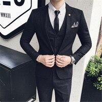 (Ceket + Pantolon + Yelek) klasik Erkekler Düğün Suit Erkek Blazers Slim Fit Adam Kostüm Iş Resmi Parti Için Siyah Şerit Takım Suits