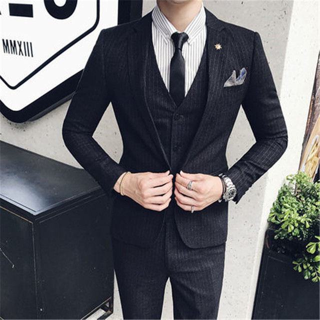 (Jacket+Pants+Vest) Classic Men Wedding Suit Male Blazers Slim Fit Suits For Man Costume Business Formal Party Black Stripe Suit