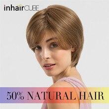 ESIN Женский искусственный короткий парик с текстурной укладкой 5оттенков Естественная челка Модная короткая стрижка Дышащая шапочка Парики для женщин 70% натуральных+30% синтетических волос