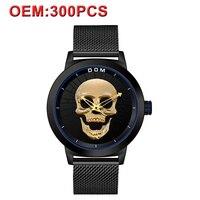 Customizd для мужчин часы Cool Bone Элитный бренд электронные часы черный мужской часы Череп Стиль Кварцевые для мужчин часы печати ваш бренд
