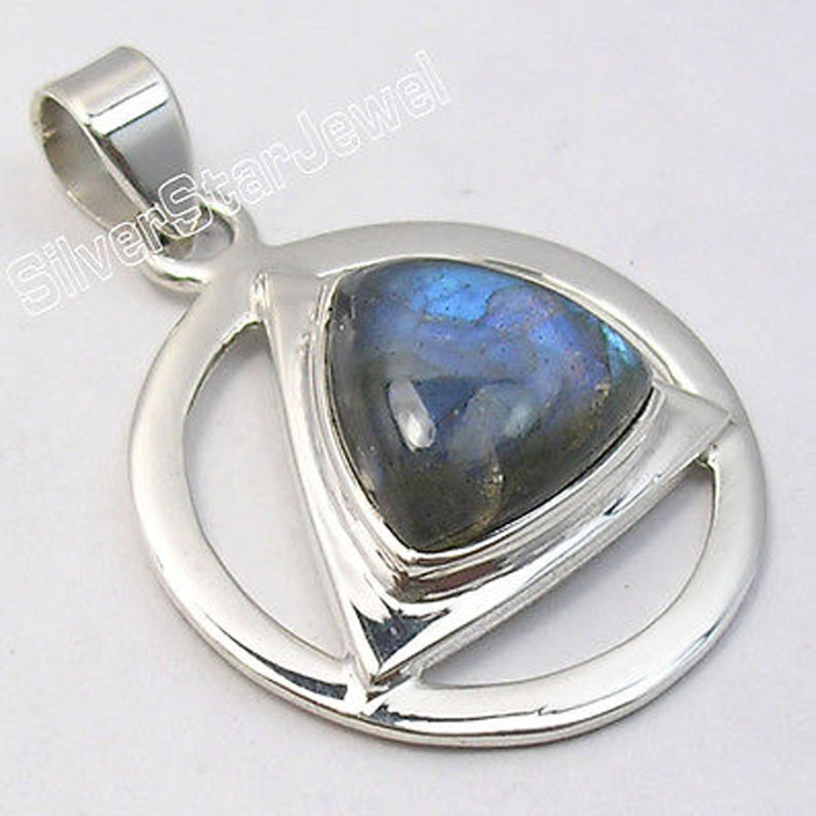 Muiltiple Choices Chanti International Silver Rare BLUE FIRE LABRADORITE Gem TRIANGLE PENDANT 3.5 CM мел tweeten triangle blue 72шт