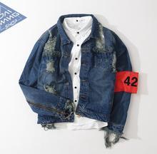 Hip hop männer jeansjacke kleidung angst gottes Vier Zwei vier 424 frühling sommer gebrochene loch jeans designer zerrissenen jeansjacke