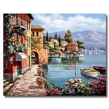 WONZOM DIY Seascape Painting By Numbers Boat Oil On Canvas Home Decor Picture Acrylic Paint Wall Art For Living Room