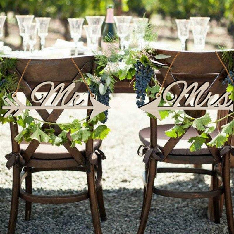 Rustic Woodsy Wedding Ideas: 1Pair Mr & Mrs Arrow Signs Wedding Party Chair Decoration