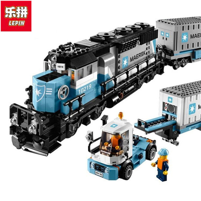 LEPIN 21006 1234pcs Genuine Technic Ultimate Series The Maersk Train Set Educational Building Blocks Bricks Children Toys Gift lepin 22002 1518pcs the maersk cargo container ship set educational building blocks bricks model toys compatible legoed 10241