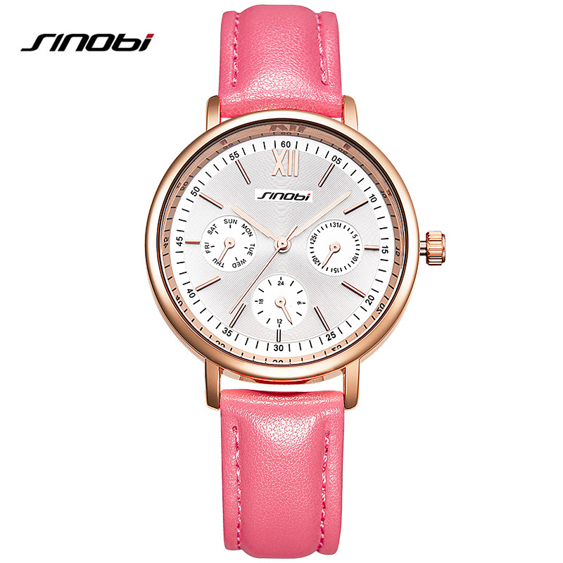 SINOBI Brand Women Watches Genuine Leather Qaurtz reloj mujer Luxury Dress Watch Ladies Quartz Rose Gold Wrist Watch Montre new arrival watch women quartz watch gold clock women leatch watches viuidueture brand fashion ladies dress watches reloj mujer