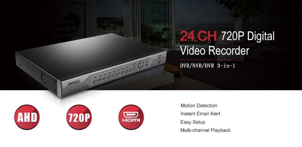 US $165 99 15% OFF|ANNKE 1080N 24CH DVR 3 IN 1 AHD DVR/NVR/HVR IP camera  CCTV Security DVR 720P HD Video Recorder Motion Detection Remote APP HDD-in