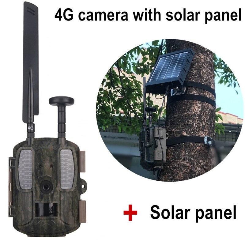4G Câmeras de Caça Selvagem Câmera Olheiro Foto-armadilhas GPS/Email/MMS/FTP/GSM com câmera Externa 3000 mAh Carregador Solar Power Panel 4G