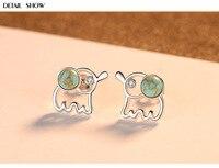 S925 silver earrings female creative fashion elephant turquoise earrings silver jewelry BBA02
