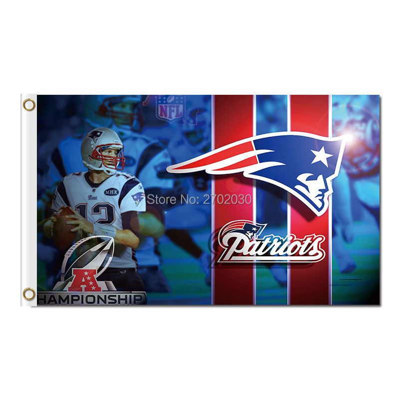 Tom Brady Custom Gillette New England Patriots Flag Football 3ft X 5ft Banner World Series Super Bowl Champions Flag