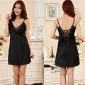 Deslizamento de seda Mulher Sono Nightgowns Plus Size Camisola Vestido de Noite Na Altura Do Joelho Com Decote Em V Roupa Pijamas pijamas Y207_6203