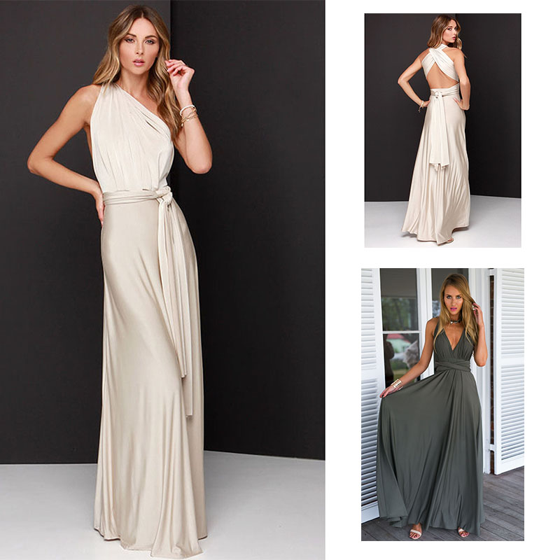cheap outlet store new high Elegant Gradient Casual Women Maxi Dress Sexy Multiway Dress Party ...