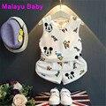 Malayu Ребенок Европа 2017 новый летний детский жилет костюм, мода мультфильм Дональд Дак печати жилет + шорты частей установлены 2-7 Y