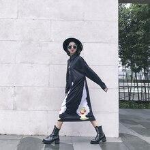 Fashion abstract girl digital print loose long design buckle polo long-sleeve dress