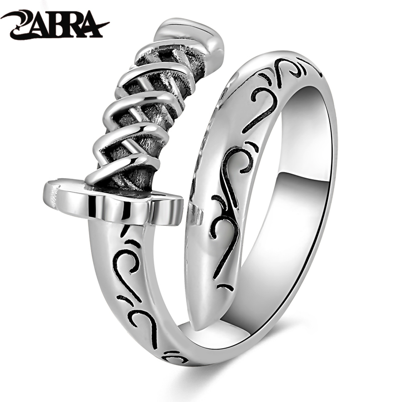 ZABRA Genuine 925 Sterling Silver Punk Rings Mens Signet Rings Knife Saber Warrior Weapons Adjustable Ring Biker Men Jewellry ...