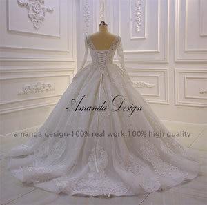 Image 4 - Amanda Design nikah elbisesi Full Sleeves Lace Appliqued Crystal Wedding Dress