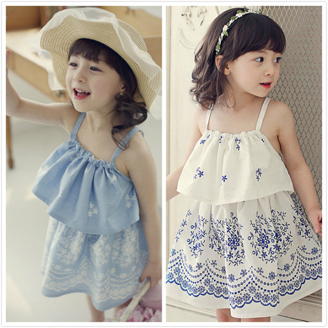 7788b88d39f 2016 Baby Girls print Floral Dresses Kids Girls Summer Cotton Singlet Dress Girl  Fashion Backless Dress Babies Wholesale Clothes