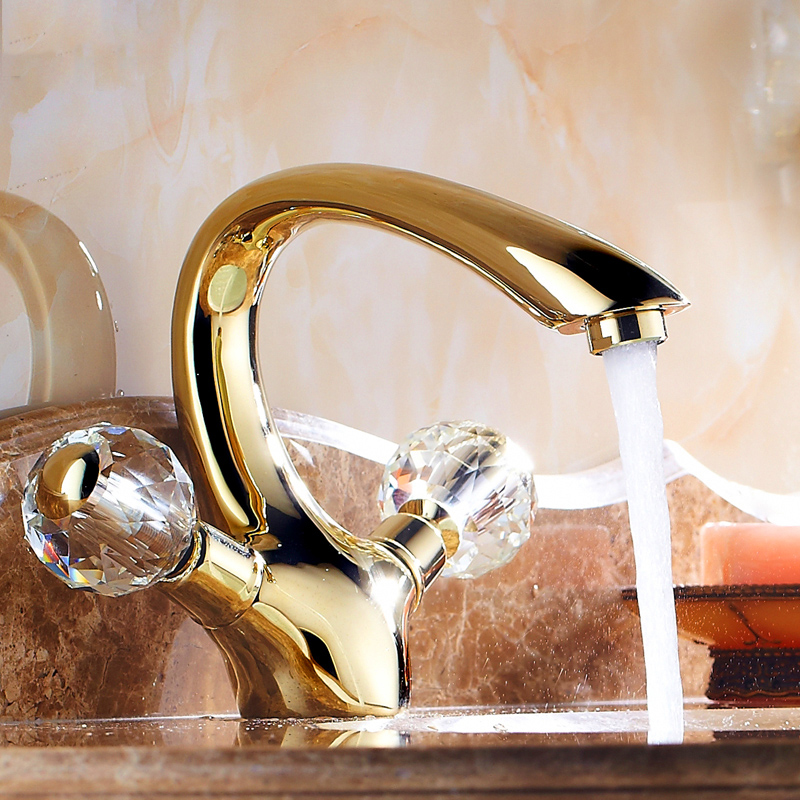 Basin Faucets Gold Brass Crystal Handle Bathroom Faucet Tap Toilet ...