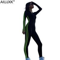 AIUJXK Autumn Long Sleeve Bodycon Jumpsuit Women Streetwear Sport Wear Striped Patchwork Zipper Playsuit One Piece Overall