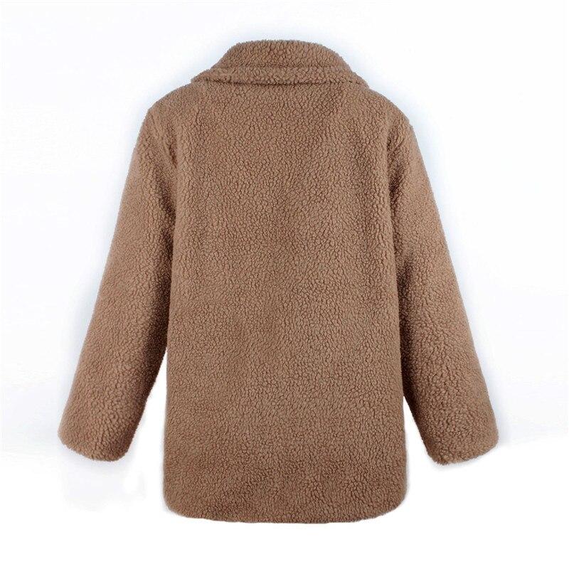 Europe and the United States street photo lapel imitation fur plush coat multi-color long wool coat (15)