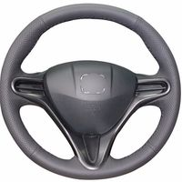 leather hand Top Leather Steering Wheel Hand-stitch on Wrap Cover For Honda Civic 8th 2006-2011 (2)