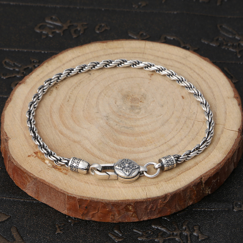 Solid Thai Silver Twisted Link Chain Bracelet Men Women 100% Pure Sterling Silver 925 3mm Simple Thin Chain Bracelet Men Jewelry