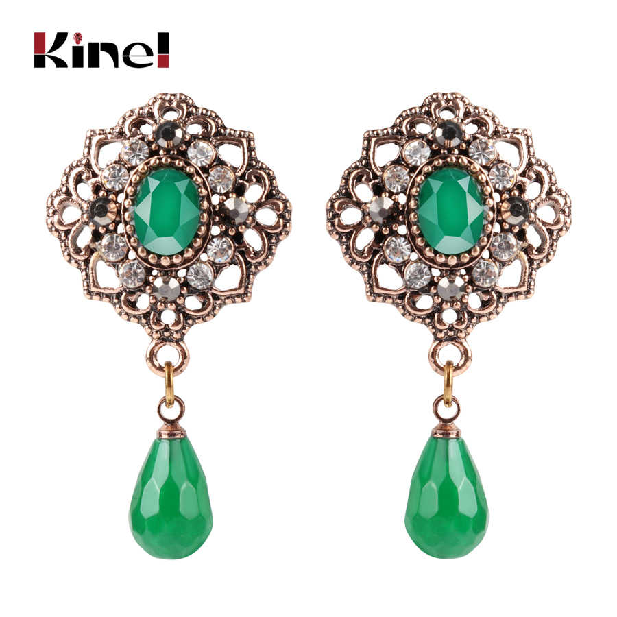 Kine Natural Stone Drop Earrings For Women Ethnic Bohemian Jewelry Antique Gold Color Green Crystal Earrings Party Gifts