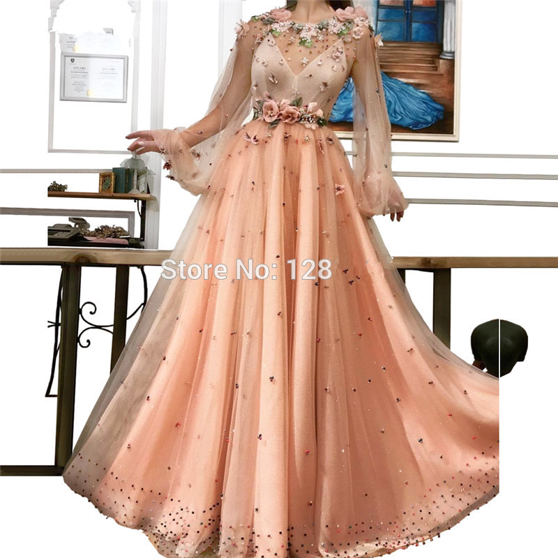 Peach Muslim Evening Dresses 2019 A-line Long Sleeves Tulle Flowers Long Islamic Dubai Saudi Arabic Long Formal Evening Gown