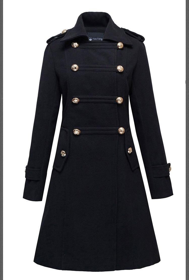 Pour Évasée Les Manteau Noir Hiver Breasted Militaire Double Swing Femmes Laine qq80rZxz