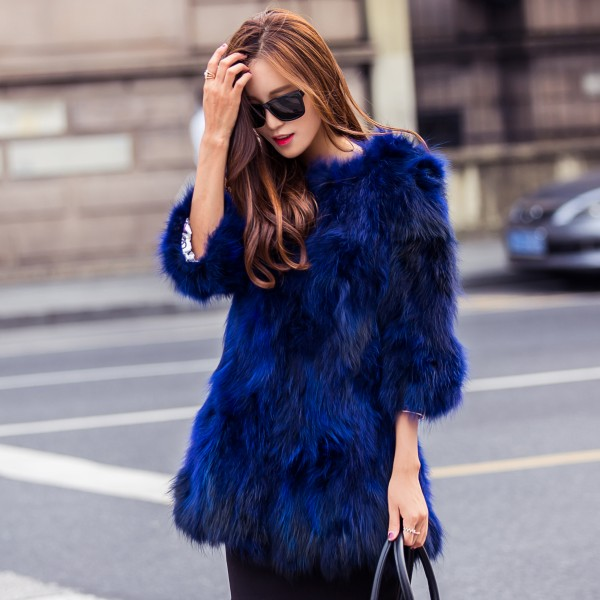 2019 New winter slim long natural blue raccoon dog fur coat outerwear women jacket female O neck 3/4 sleeve real fur clothes