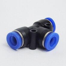 100 stücke Freies verschiffen PE4 6 8 10 12MM Pneumatische Push In T 3 Weg Montage Kunststoff Rohr anschluss Schnellspann befestigung