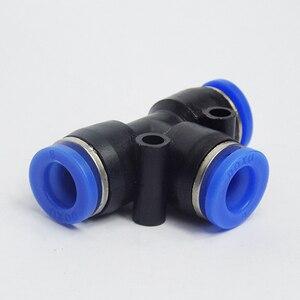 Image 1 - 100 sztuk darmowa wysyłka PE4 6 8 10 12MM pneumatyczne Tee 3 sposób montażu plastikowe złącze rurowe szybkozłącze