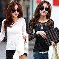 Осень и зима женщин кружева шить женская грунтовки рубашка с длинными рукавами диких моды кружева футболка do283