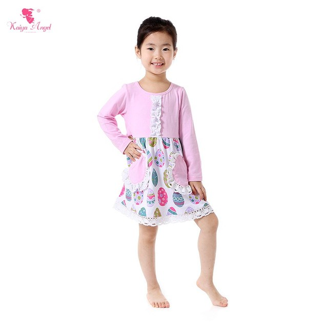 85a16ef77722 2018 Girls Easter Dresses Long Sleeve Pink Easter Egg Dress With ...
