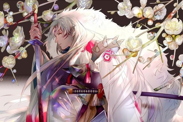 Anime Guy Inuyasha Long White Hair Sakura Katana PJZK830 Wall Art Fabric Poster For Room Decor