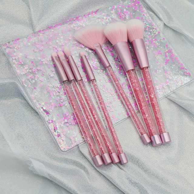 7pc Rhinestone Glitter Crystal Makeup Brush Set Diamond Pro Highlighter Brushes Concealer Make Up Brush Mermaid Brush Gift
