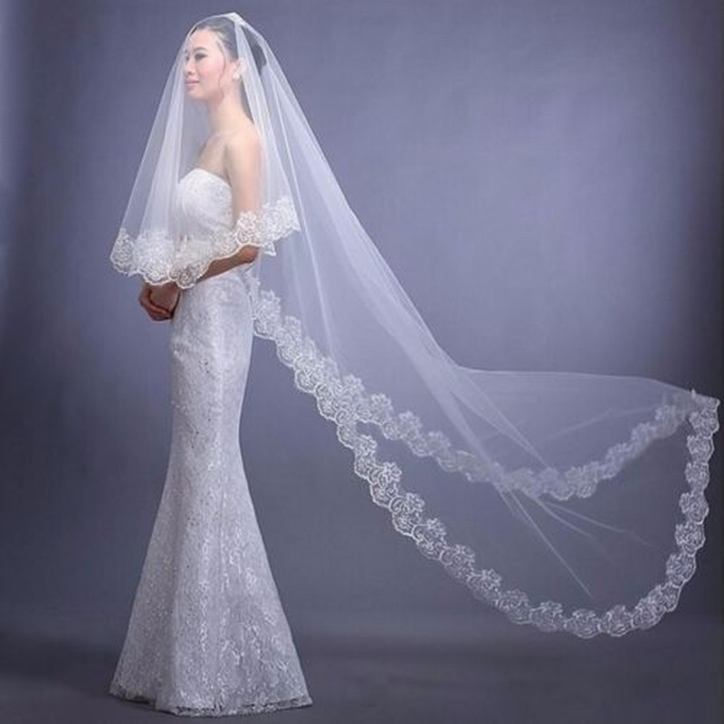 Pageant 3M Bridal Veil White/Ivory Cathedral Lace Edge Wedding Accessories Without Comb Bride Veils