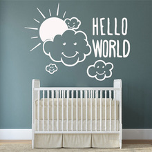 Diy cloud hello world Vinyl Wall Sticker Home Decor Stikers For Living Room Bedroom Art Murals