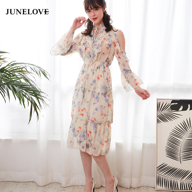 00c1c5c49ad JuneLove 2019 spring print chiffon dress women cold shoulder dress casual  floral dress lace up hollow