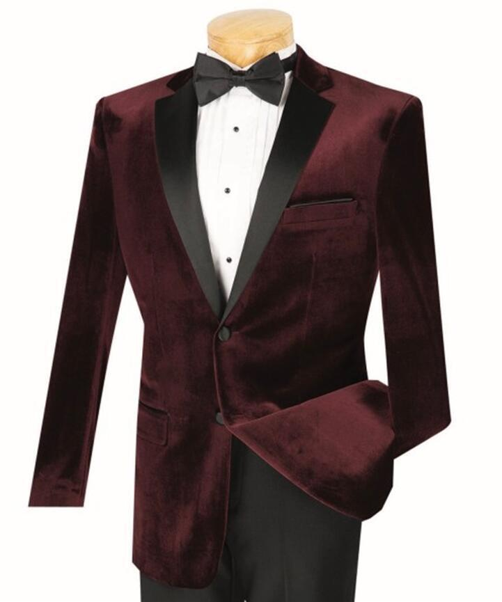 Velours bordeaux smoking manteau hommes costume Slim Fit 40r 42r 44r 46r 46l 48l personnalisé