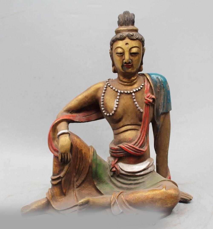 11 Chinese Buddhism Copper Painting Seat Kwan-yin Goddess Boddhisattva Statue11 Chinese Buddhism Copper Painting Seat Kwan-yin Goddess Boddhisattva Statue