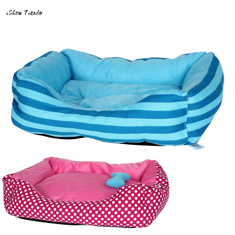 ISHOWTIENDA New Arrival Srtipe Dot Pet Dog Cat Bed House Kennel Doggy Warm Cushion Basket High Quality Pet Dog Cat Bed House ...