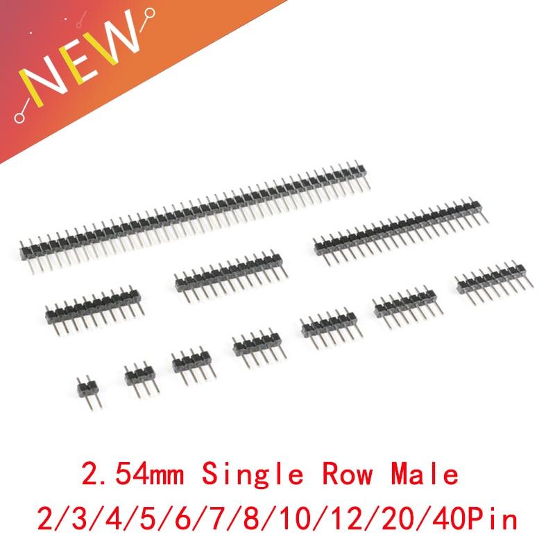 10Pcs 2.54mm Single Row Male 2~40P Breakaway PCB Board Pin Header Connector Strip Pinheader 2/3/4/5/6/8/10/12/20/40Pin